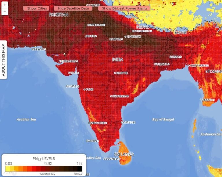 Map of Air pollutants PM 2.5 size in India